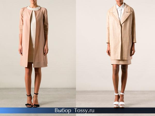 Прямые пальто молочного цвета