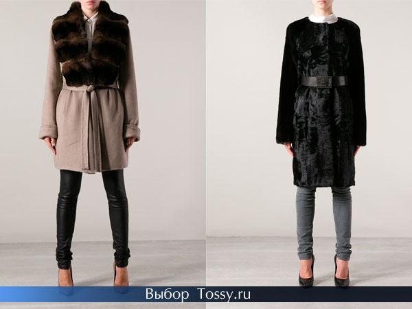 Драповое пальто с мехом и черное из каракули