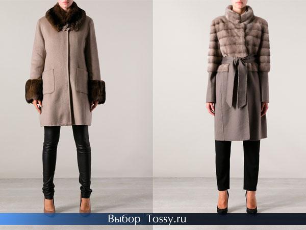 Фото зимнего пальто с мехом и поясом