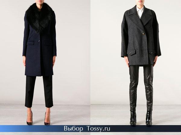 Теплое шерстяное пальто с меховым воротником и твидовое укороченное