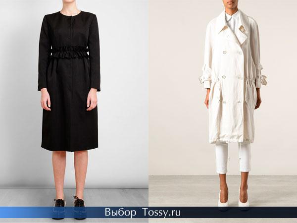 Черное пальто-платье и белое средней длины