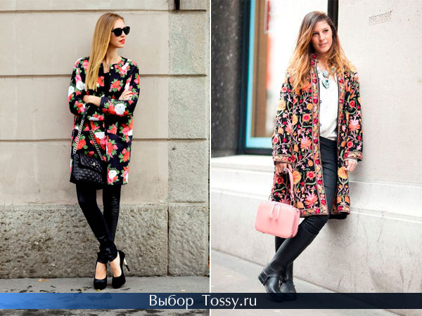 Черное пальто с красными цветами