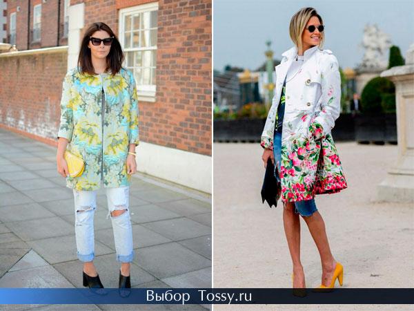 Бирюзовое пальто с желтыми цветами и белое с аппликацией