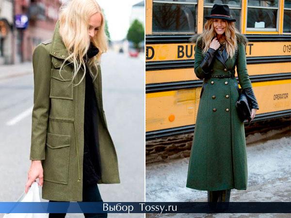 Пальто болотного и зеленого цвета