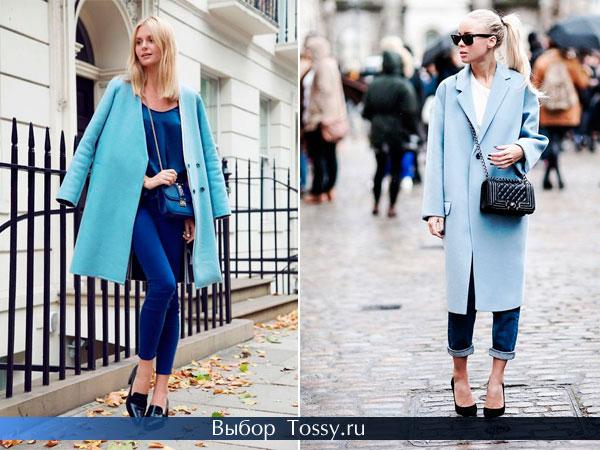 Осенние женские пальто голубого цвета