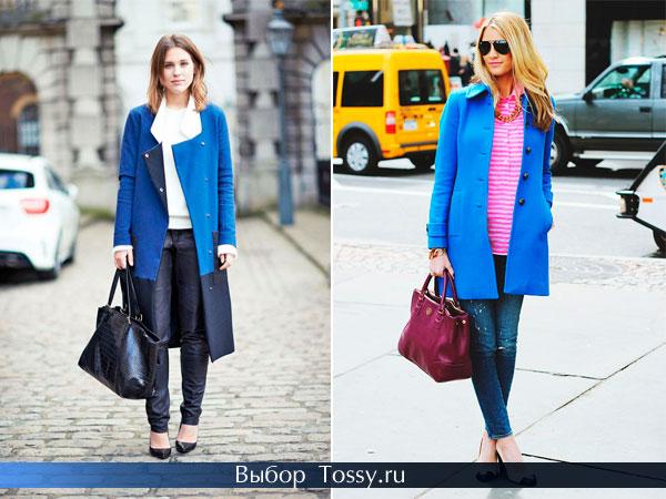 Двухцветное пальто - ярко и темно-синее