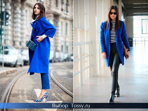Фото синего пальто без воротника