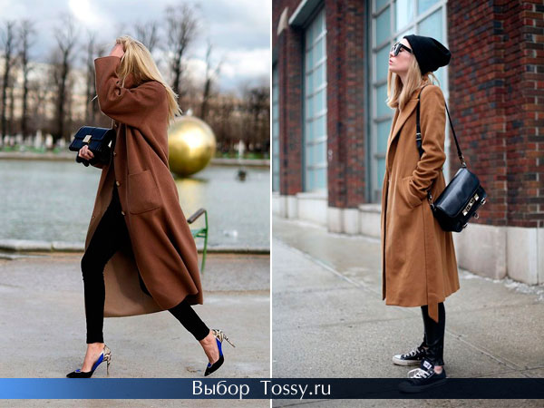 Коричневое женское пальто ниже колена