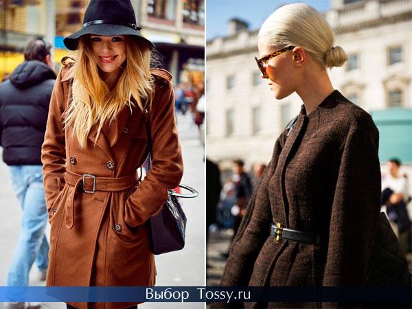 Коричневые пальто с поясом