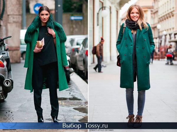 Зимние пальто с меховым воротником темно-зеленого цвета