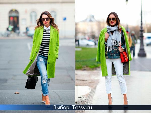 Пальто прямого кроя ярко-салатового цвета