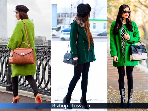 Фото модного зеленого пальто