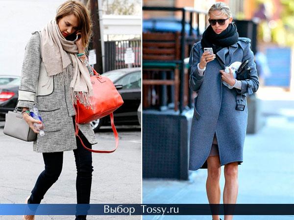 Серое пальто вместе с бежевым и черным шарфом