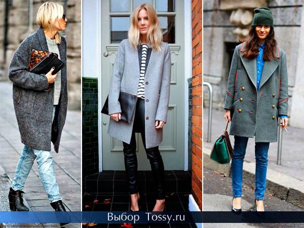 Модное женское пальто серого цвета