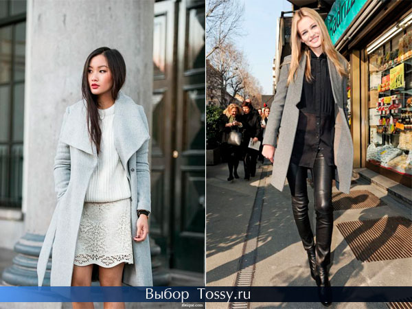 Классическое пальто и модель без воротника
