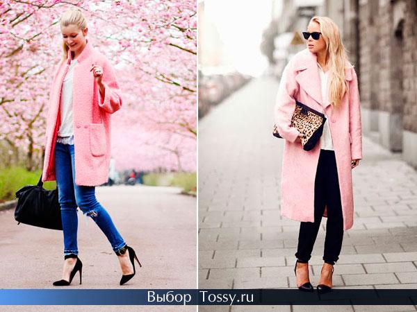 Светло-розовое пальто широкого кроя