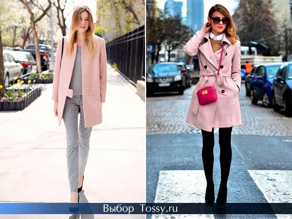 Строгое пальто нежно-розового цвета