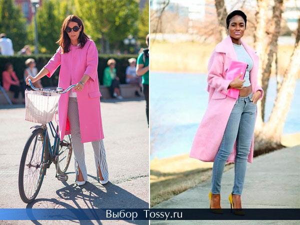Весеннее пальто в сочетании с брюками и джинсами светлого цвета