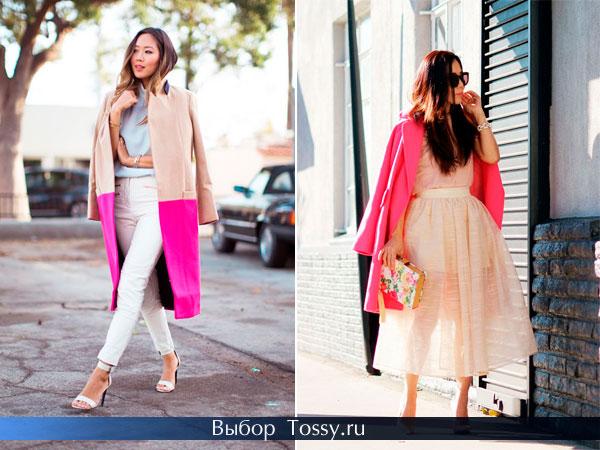 Двухцветное пальто без воротника и ярко-розовое