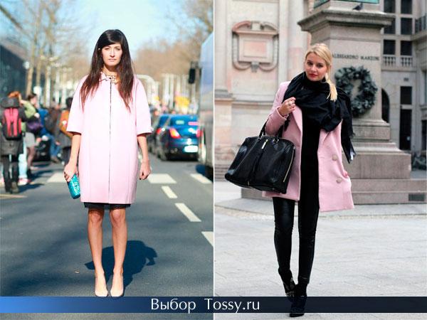 Фото розового пальто-трапеция