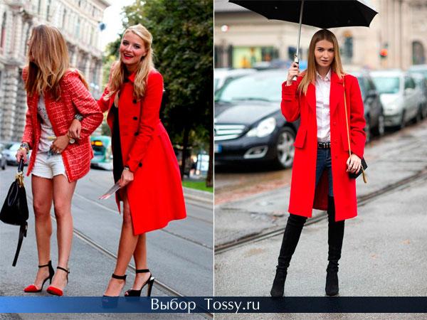 Весенний красный плащ с черными пуговки и пальто с прямыми карманами