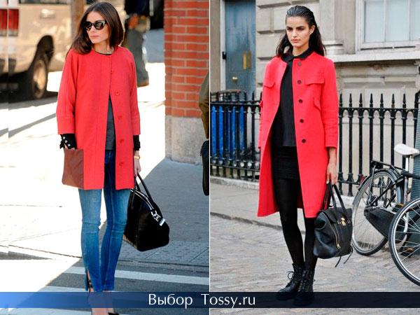 Красное пальто без воротника прямого кроя