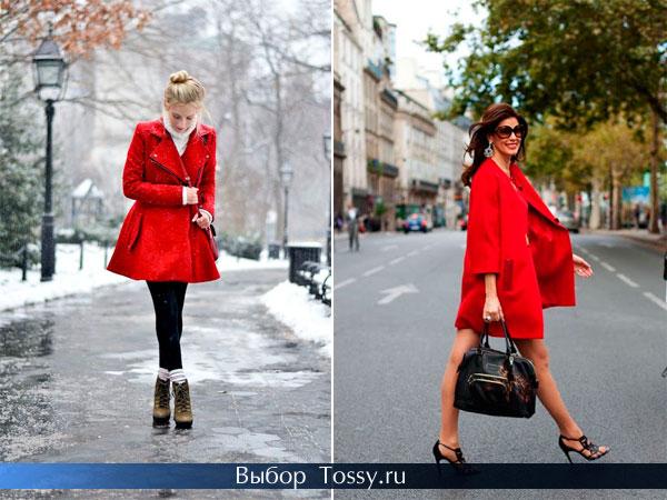 Расклешенное пальто и модель в строгом стиле