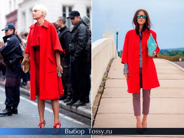 Модные пальто ярко-алого цвета
