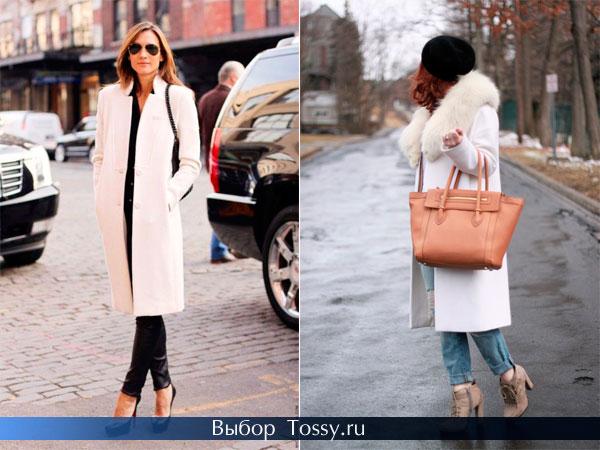 Белое пальто с натуральным меховым воротником