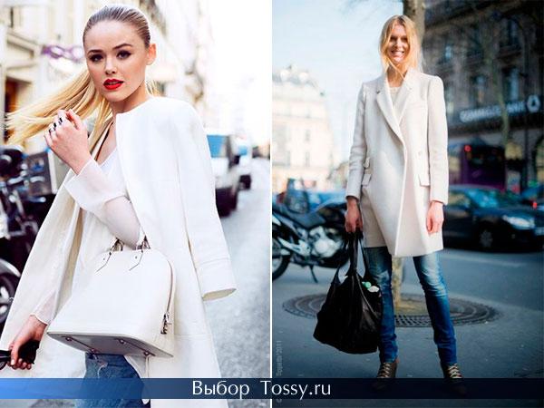 Осеннее женское пальто белого цвета