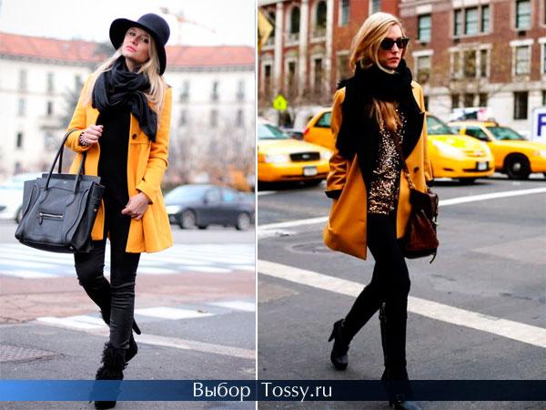Желтое пальто с черным шарфом и шляпой