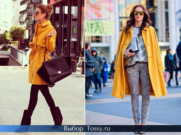 Модели пальто грязно-желтого цвета