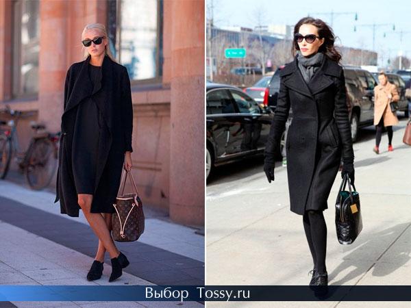 Строгое приталенное пальто темного цвета