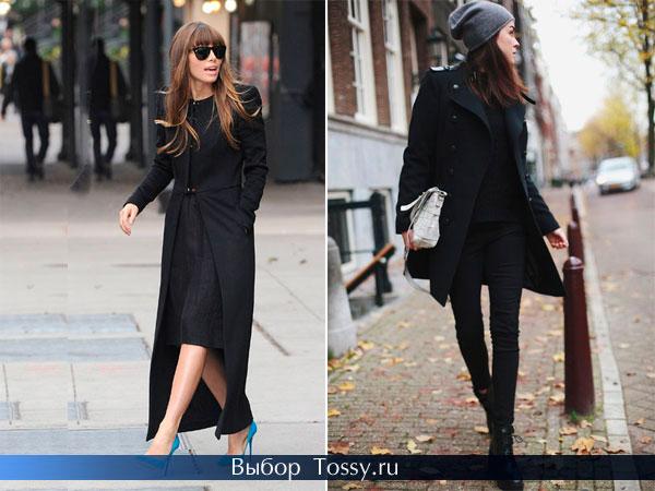 Пальто черного цвета с пуговицами