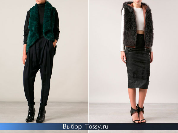 Модные жилетки из искусственного меха 2014