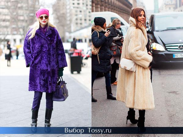Фото мехового пальто фиолетового и бежевого цвета