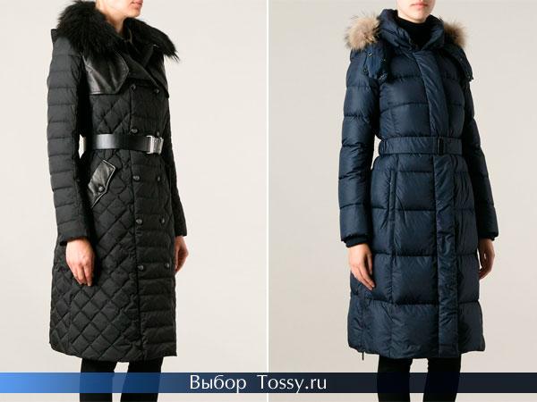 Пуховое пальто с натуральным меховым воротником