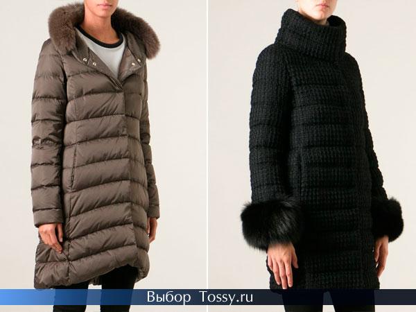 Бежевое пальто с меховым капюшоном и черный пуховик