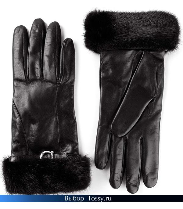 Черные кожаные перчатки с мехом норки