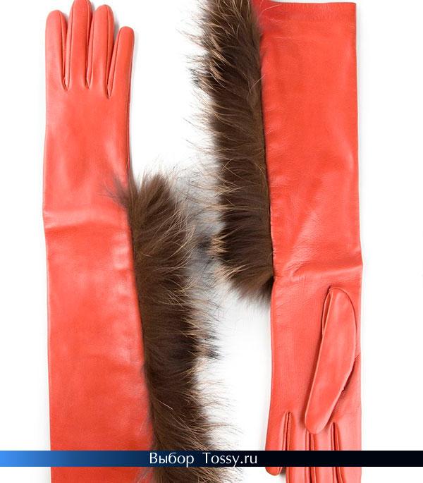 Коралловые удлиненные перчатки