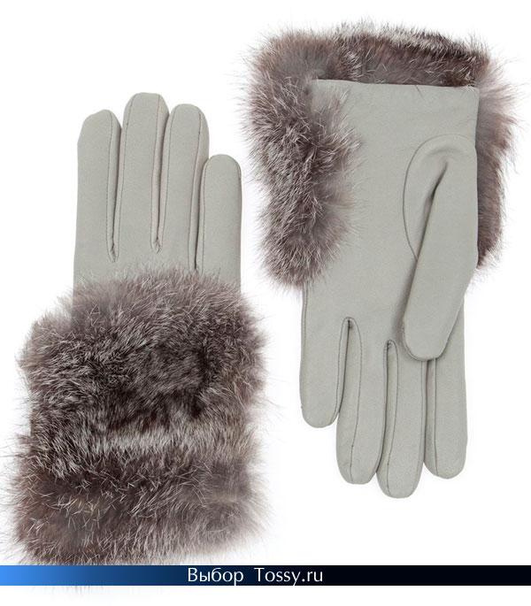 Серые перчатки с меховой окантовкой