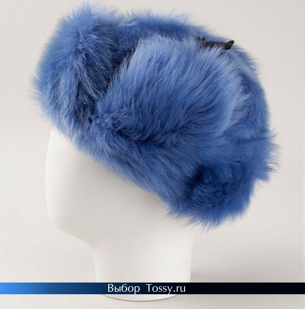 Шапка-ушанка синего цвета