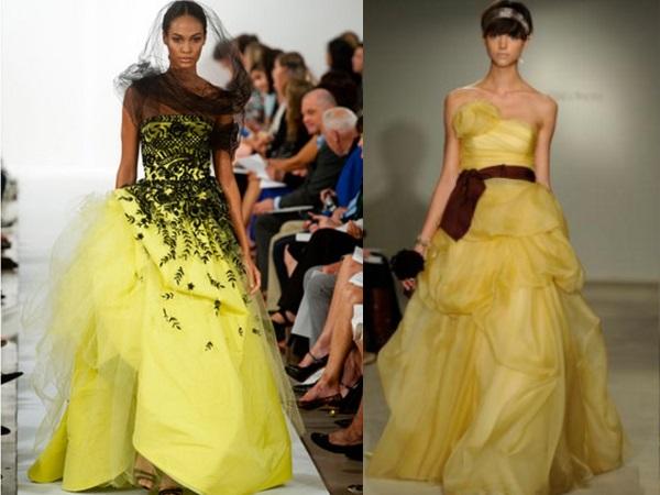 свадебное платье желтого цвета