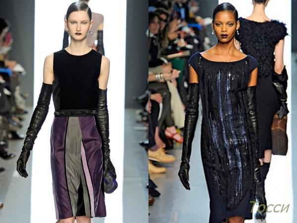 Длинные кожаные перчатки с вечерним платьем
